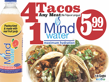 4 Tacos plus a free MindWater, any available for for $5.99